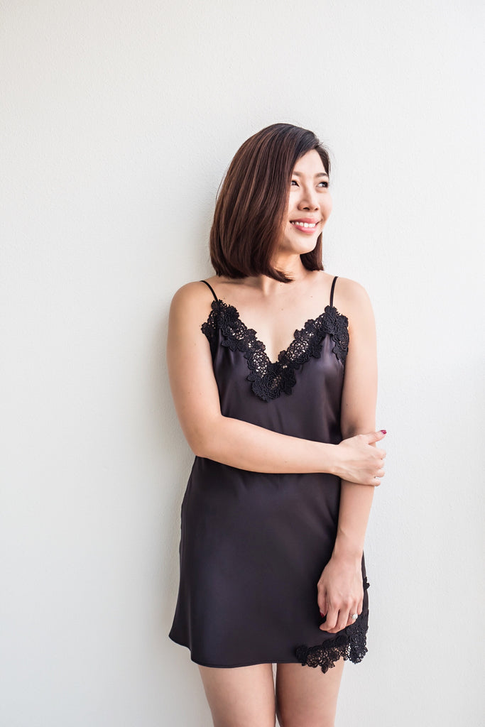 Black Lace Satin Slip - Bells & Birds