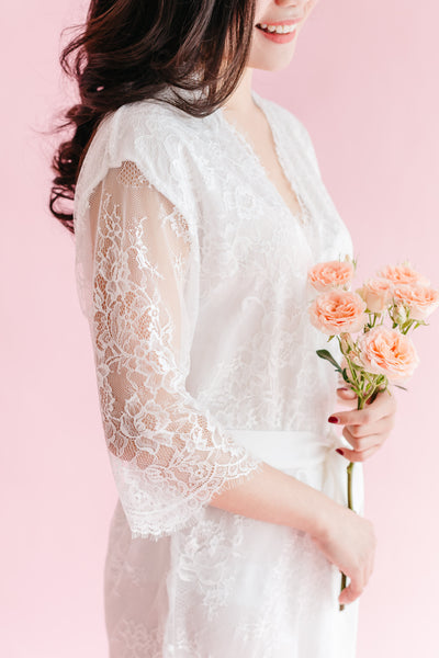 Blush Chantilly Lace Robe (Lined)