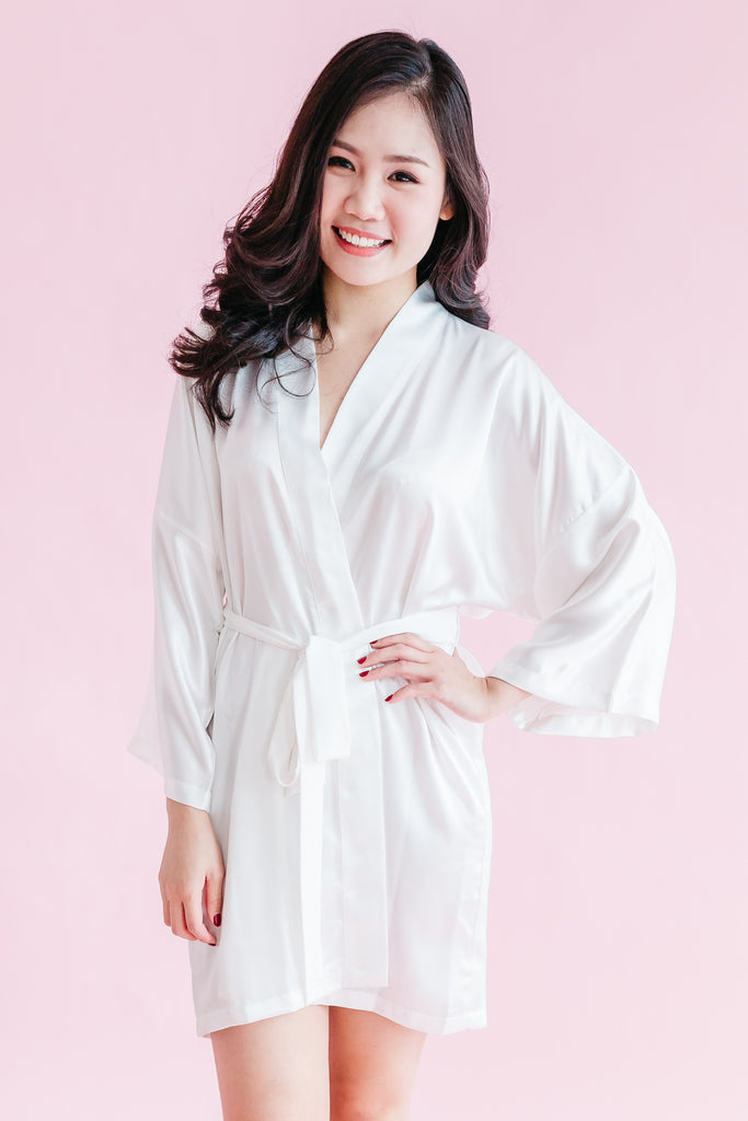 'Bride' Silk Robe (120 colours) - Bells & Birds