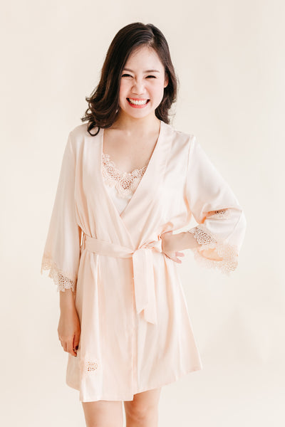 Buttermilk Satin Robe