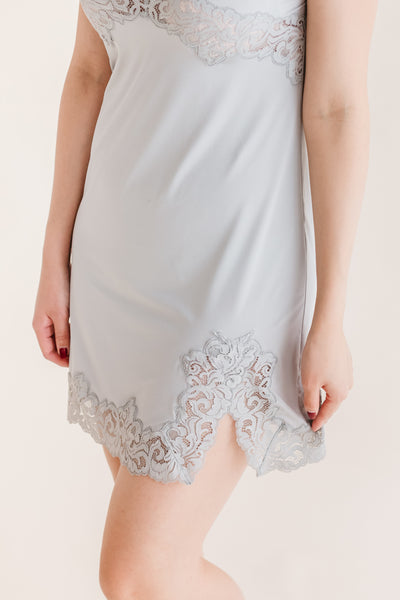 Dove Grey Luxe Lace Satin Slip