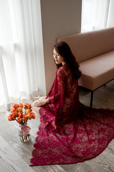 Ever After Lace Maxi Robe (Wine Red)