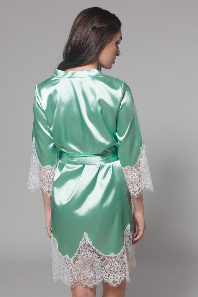 Frida Satin Robe (Sage) - Bells & Birds