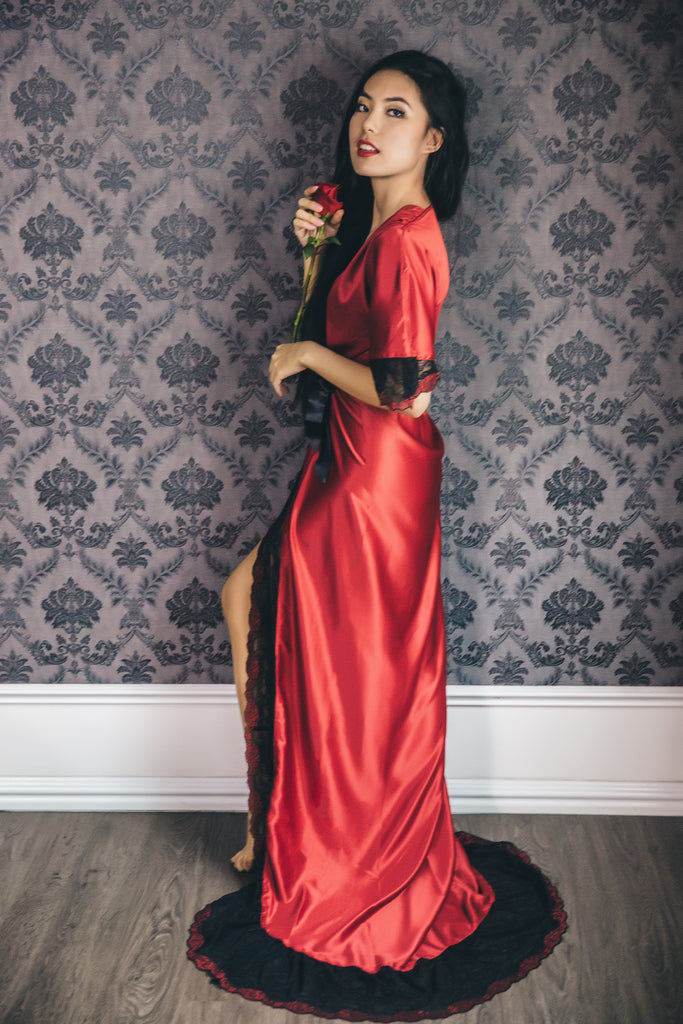 Malaga Wine Satin Lace Gown | Bells & Birds