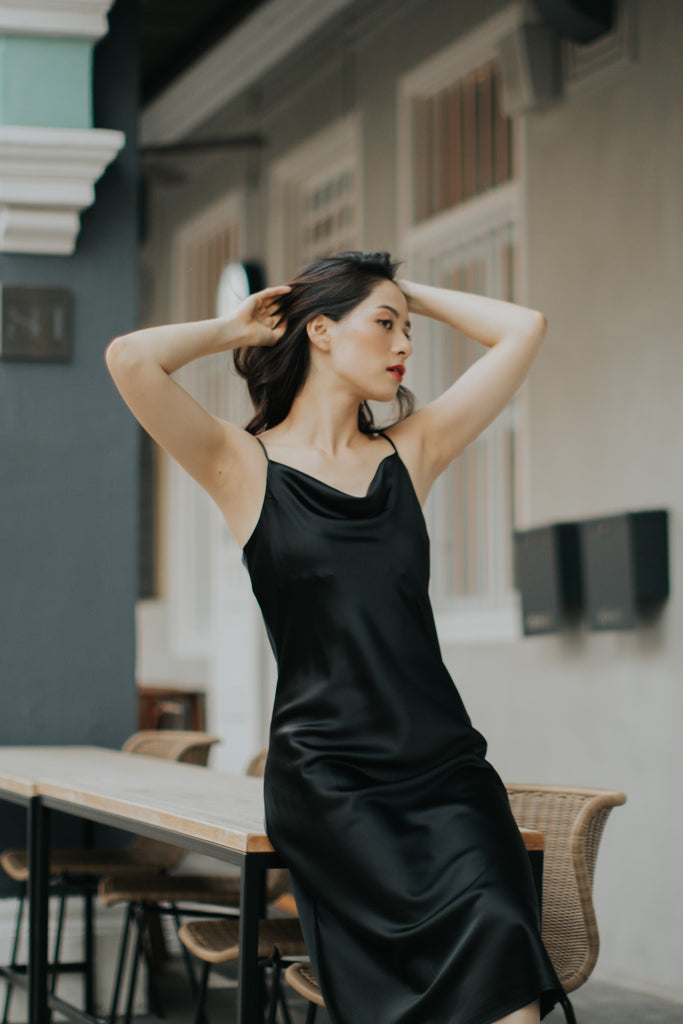 Midi Cowl Neck Slip Dress (Black)