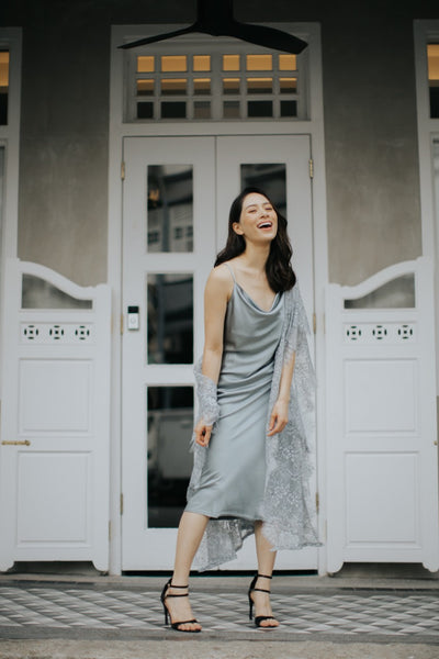 Midi Cowl Neck Slip Dress (Grey)