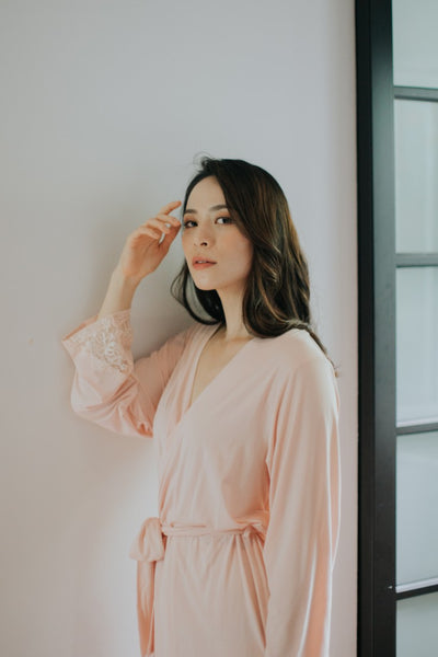 Modal Lace Robe (Blush)