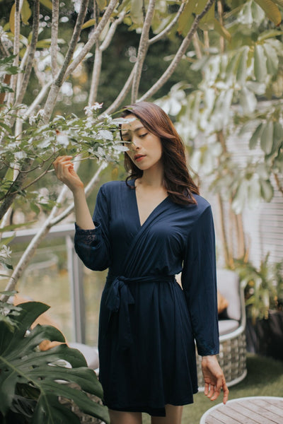 Modal Lace Robe (Navy)