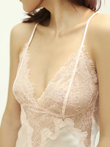 Pink Chantilly Lace Slip