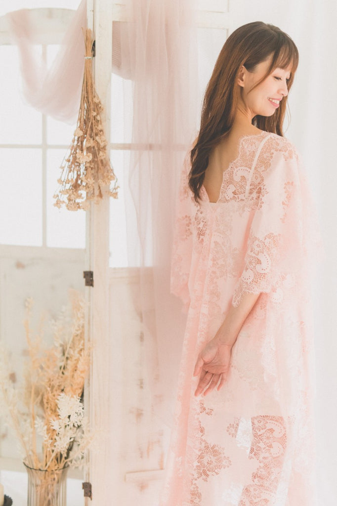 Pink Cotton Lace Kaftan