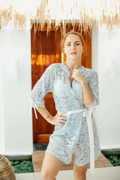 Powder Blue Lace Robe (with ribbons)