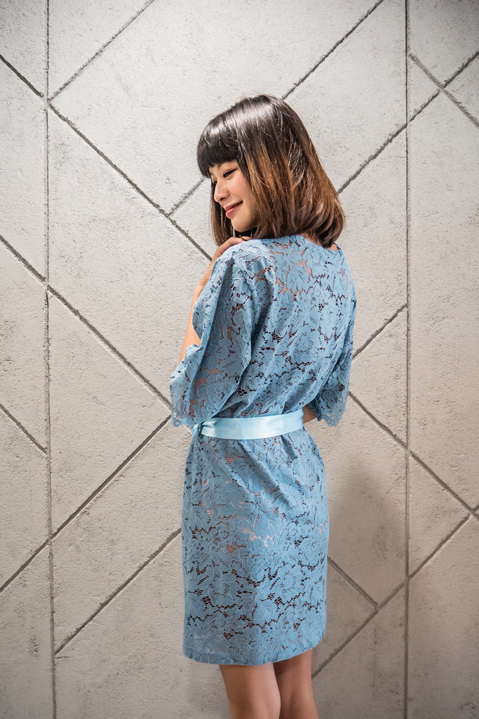 Robin's Egg Blue Lace Robe - Bells & Birds