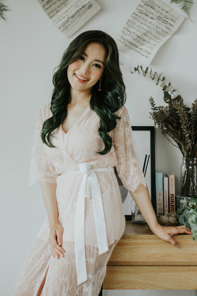Rose Quartz French Lace Robe