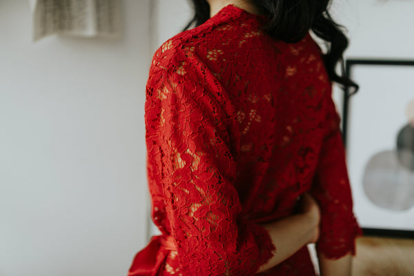 Ruby Red Lace Robe (Petite)