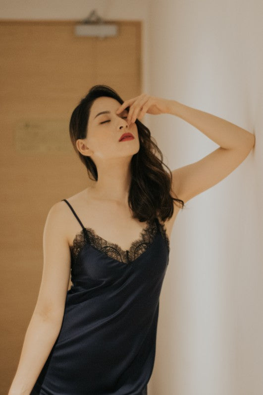Satin Lace Slip (Navy)