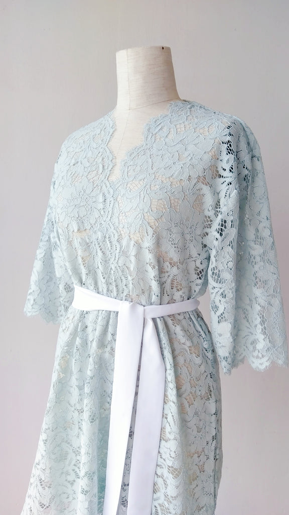 Seafoam Blue Lace Robe - Bells & Birds