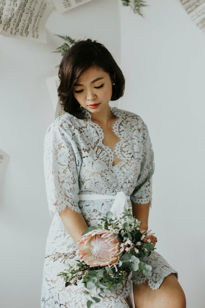Seafoam Blue Lace Robe