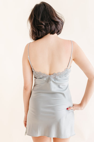 Steel Blue Lace Satin Slip