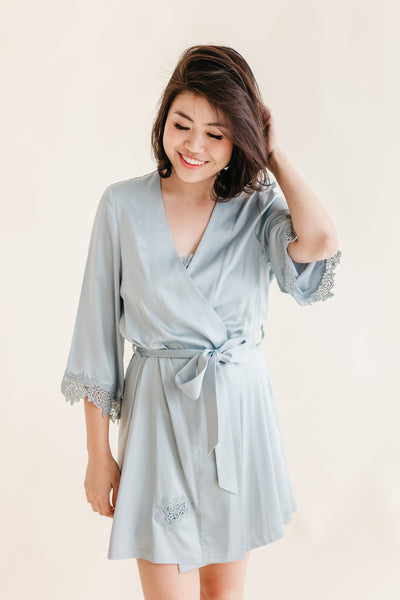Steel Blue Satin Robe