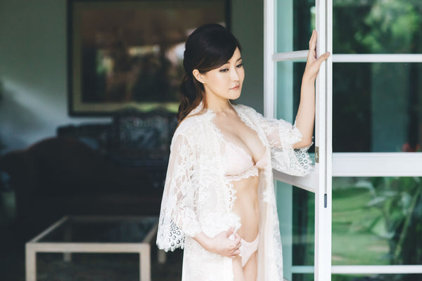 Swan Queen Lace & Silk Robe (Blush)