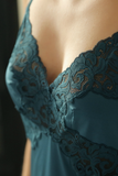 Teal Luxe Lace Satin Slip