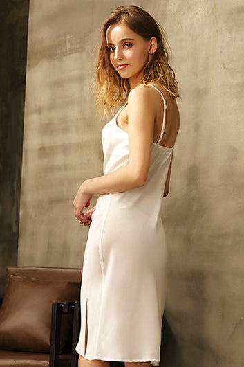 White Midi Satin Slip