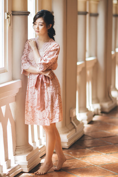 Belle en Rose Lace Robe