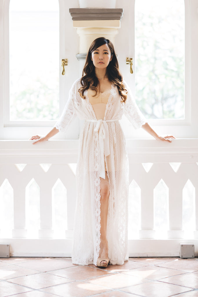Forever and Ever Lace Maxi Robe - Bells & Birds