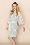 SAMPLE Swan Queen Lace & Silk Robe (Powder Blue)