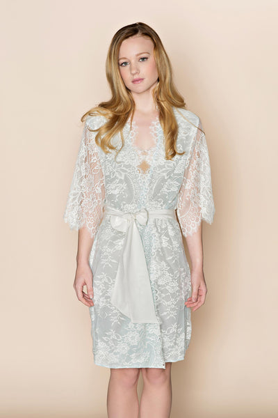 Swan Queen Lace & Silk Robe (Powder Blue)