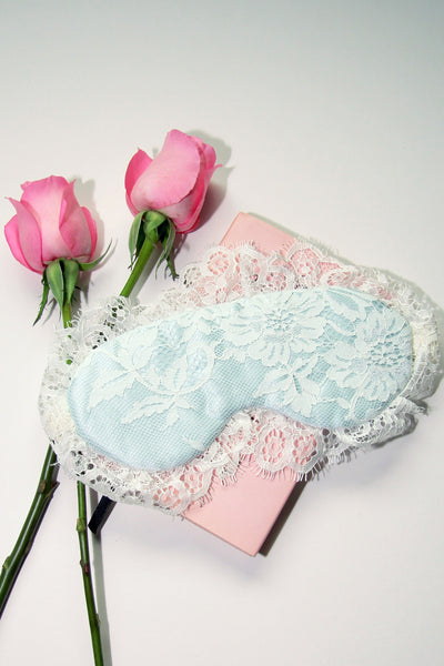 Swan Queen Lace & Silk Sleep Mask (Baby Blue)