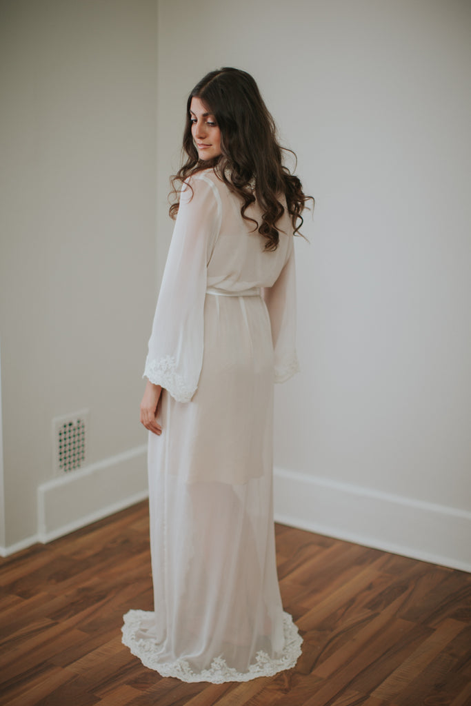 Oh So Divine Silk Chiffon Robe - Bells & Birds