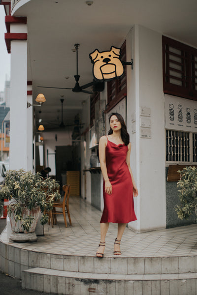 Midi Cowl Neck Slip Dress (Ruby)
