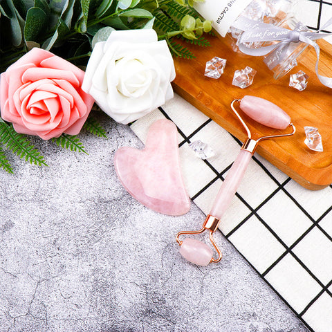 Pink Jade Stone Roller and Gua Sha Lifestyle Image