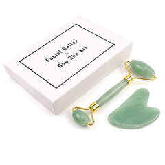 Green Jade Stone Roller and Gua Sha Kit in box