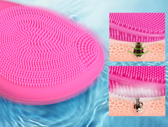 Facial cleansing brush in action showing pore cleaning