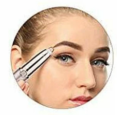 Image of girl using the electric eyebrow trimmer pen