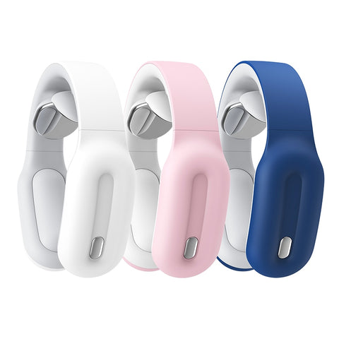 Blue, white and pink smart neck and shoulder massager