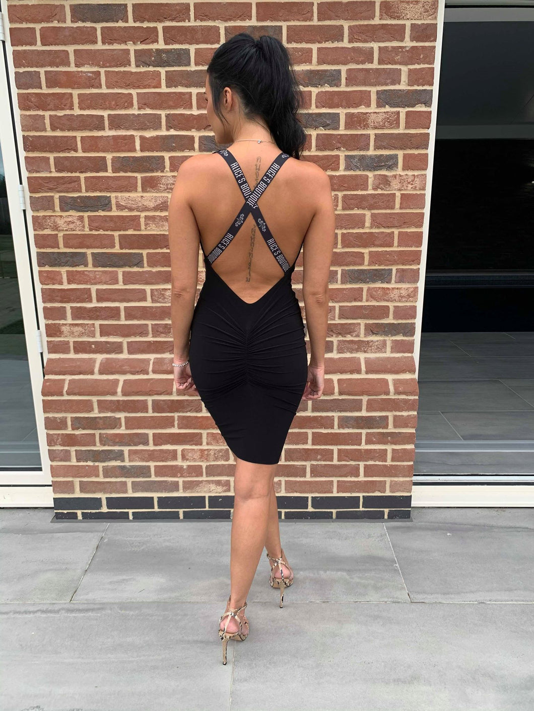 Black Label Plunge Cross Backless Dress