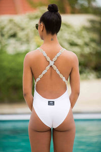 V Neck Backless Beaded Cross Over Poolside