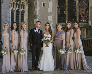 Variety of necklines for group of Bridesmaids