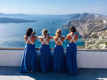 Load image into Gallery viewer, Plunge Cross Backless Beaded Bridesmaid Dress