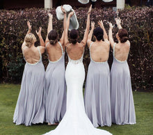 Load image into Gallery viewer, Backless Beaded All Around Bridesmaid Dress