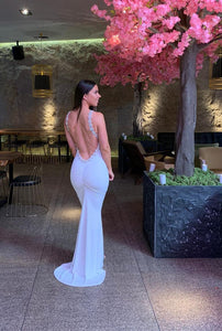Highneck Backless Beaded All Around Fishtail Dress