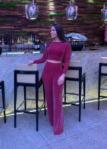 Long Sleeved Crop Top and Matching Wide Leg Trouser
