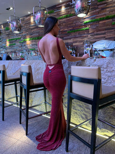 Highneck Backless Fishtail Dress with Plaited Belt