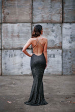 Load image into Gallery viewer, Plunge Cross Backless Beaded Fishtail Dress