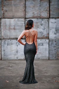 Plunge Cross Backless Beaded Fishtail Dress