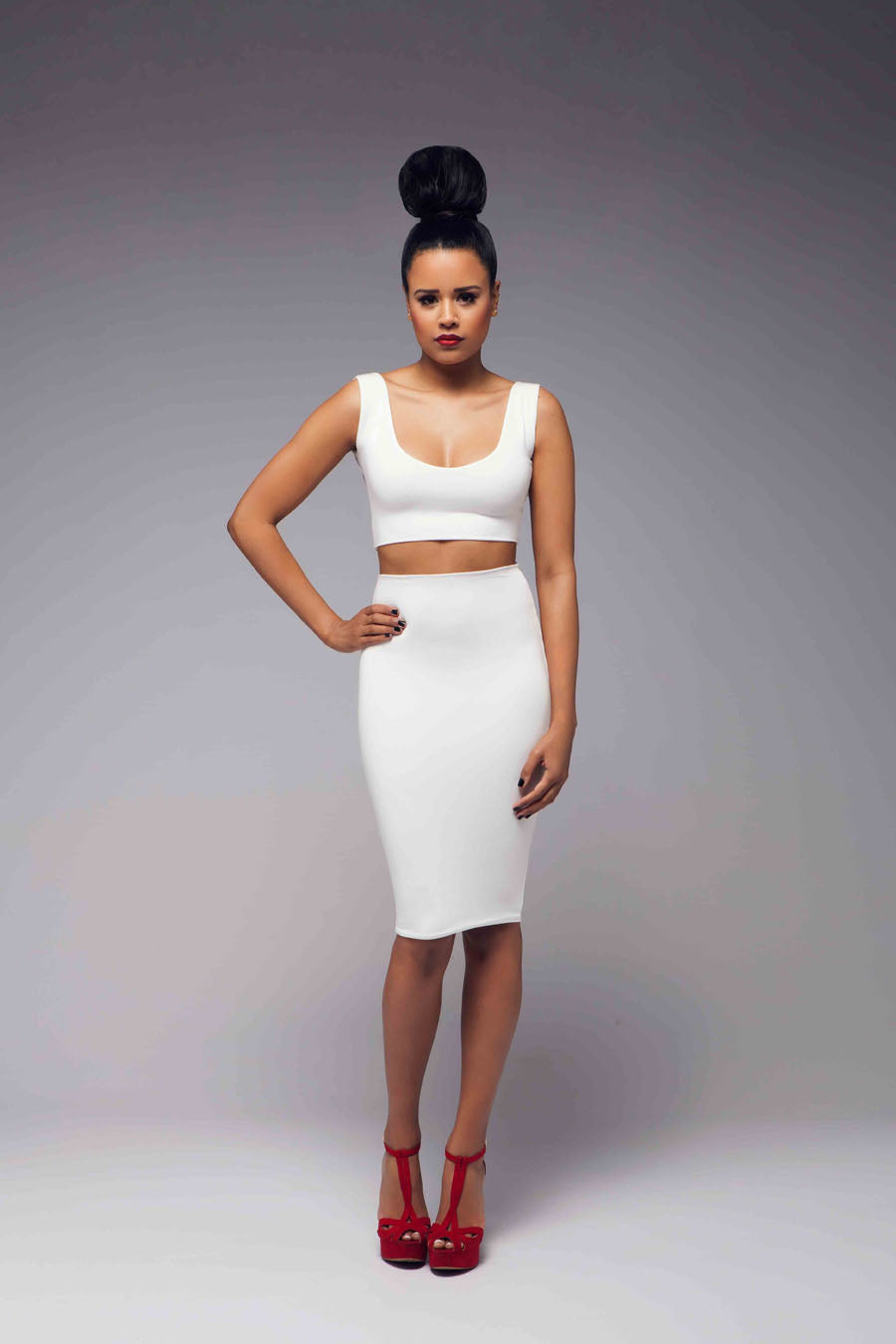 V Neck Bodycon Skirt Dress