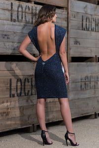 Backless Drape Dress Front